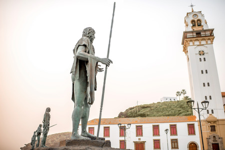 canarias: Statues of the guanches in the Plaza de la Patrona de Canarias in Candelaria town on Tenerife island in Spain