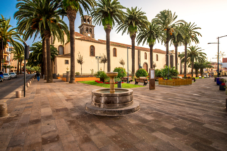 immaculate: Square with fountain near the church of the Immaculate Conception in La Laguna town on Tenerife island