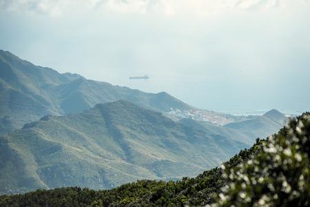 northeastern: Beautiful landscape view on natural park Anaga and Santa Cruz city in northeastern part of Tenerife island, Spain