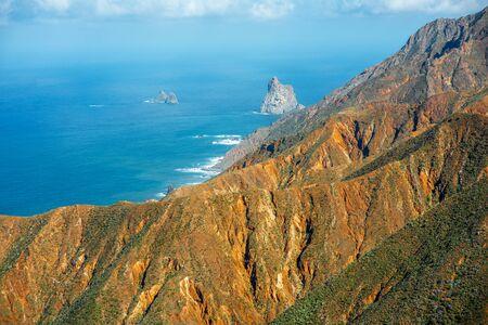 northeastern: Beautiful landscape view on coastline in natural park Anaga in northeastern part of Tenerife island, Spain