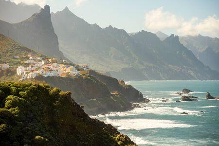 northeastern: Beautiful landscape view on rocky coastline with Taganana village in northeastern part of Tenerife island, Spain