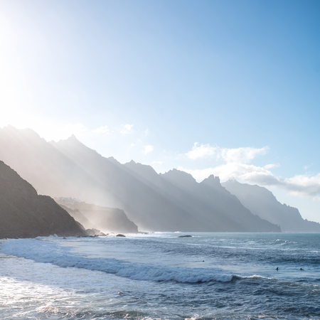 northeastern: Beautiful landscape view on the ocean and rocky coastline near Taganana village in northeastern part of Tenerife island, Spain Stock Photo