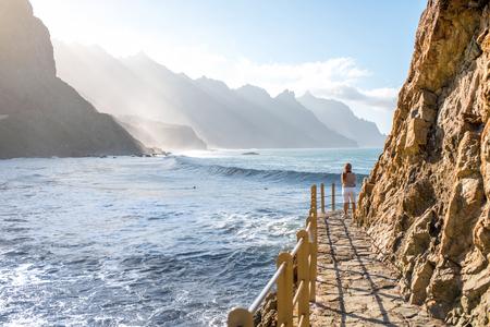 northeastern: Beautiful landscape view on the beach and rocky coastline near Taganana village in northeastern part of Tenerife island, Spain Stock Photo