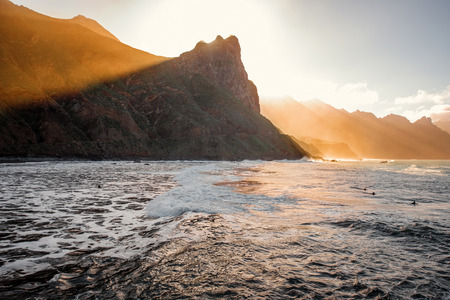 northeastern: Beautiful landscape view on the ocean and rocky coastline on the sunset near Taganana village in northeastern part of Tenerife island, Spain