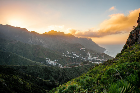 northeastern: Landscape view with Taganana village in the mountains on the sunset on the northeastern part of Tenerife island