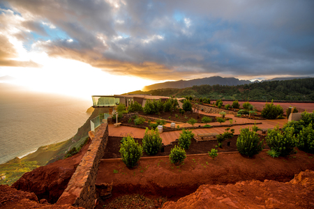 bilding: Agulo, La Gomera island, Spain - January 06, 2016: Mirador de Abrante viewpoint bilding with glass observation balcony above Agulo village on nothern part of La Gomera island in Spain