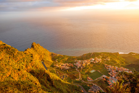 Top view from Mirador de Abrante on Agulo coastal village on La Gomera island on the sunrise in Spain