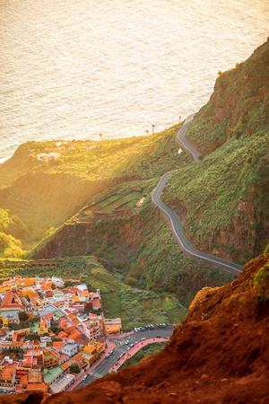 mirador: Top view from Mirador de Abrante on Agulo coastal village on La Gomera island on the sunrise in Spain