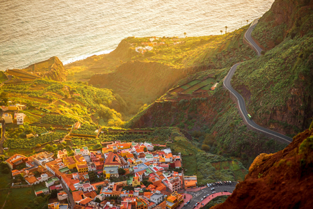 valley view: Top view from Mirador de Abrante on Agulo coastal village on La Gomera island on the sunrise in Spain