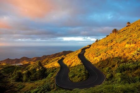 western part: Serpantine mountain road on the western part of La Gomera island on the sunset