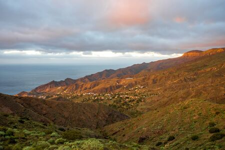 western part: Beautiful landscape view on the western part of La Gomera island on the sunset