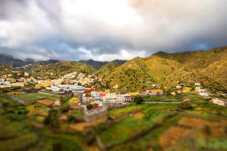 vallehermoso: Vallehermoso village on La Gomera island in Spain. Image with tilt-shift effect