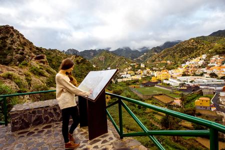 vallehermoso: Woman looking on information board near Vallehermoso village on La Gomera island