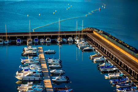san: Top view on the harbor in San Sebastian port city on La Gomera island in Spain