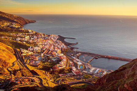 santa cruz: Aerial view on Santa Cruz city in the moorning on La Palma island in Spain Stock Photo