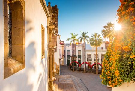 santa cruz: Central square in old town with Salvador church and monument in Santa Cruz de la Palma in Spain Stock Photo