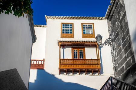 spanish homes: City street view in Santa Cruz de La Palma old town on La Palma island in Spain Stock Photo
