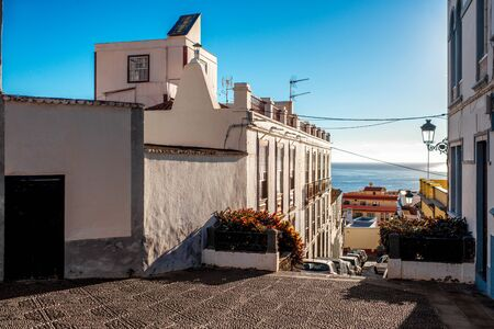 santa cruz: City street view in Santa Cruz de La Palma old town on La Palma island in Spain Stock Photo