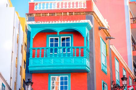 santa cruz: Colorful house with beautiful balcony in Santa Cruz de La Palma old town on La Palma island in Spain