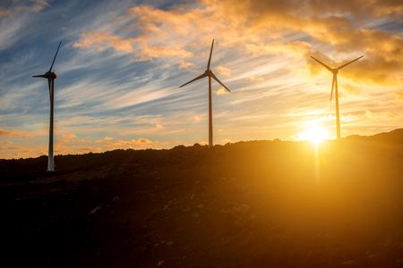 molinos de viento eléctricos en el fondo del cielo en la puesta de sol