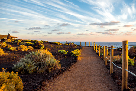 palma: Footpath to the salt manufacturing Fuencaliente on La Palma island Stock Photo