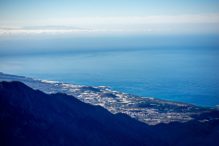 western part: Aerial view on cities and villages on the western part of La Palma island from the highest viewpoint on the island