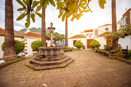western part: Central square with old fontain in Los Llanos city on the western part of La Palma island Stock Photo