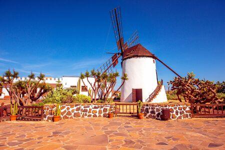 island paradise: Traditional windmill on Fuerteventura island in Spain