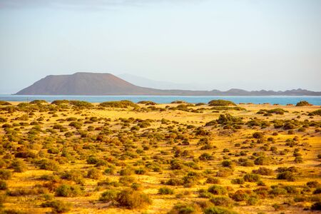 corralejo: Corralejo dunes with Lobos island on the background on Fuerteventura island in Spain