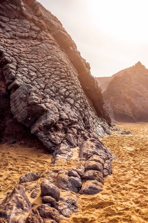 south western: Close-up view on the volcanic rocky coast near La Pared village on the south western part of Fuerteventura island Stock Photo