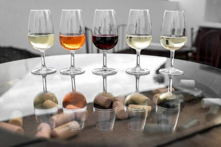 degustation: Set of six different wines in wineglasses on the table for degustation Stock Photo