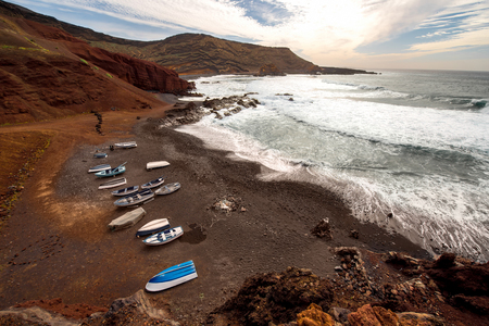 golfo: El Golfo bay with fishing boats on Lanzarote island in Spain