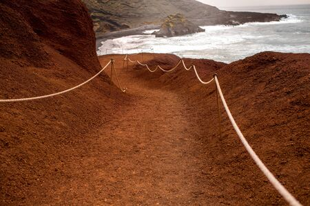 golfo: Tourist footpath to El Golfo bay on Lanzarote island in Spain