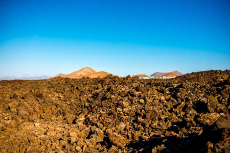 volcanic landscape: Volcanic landscape on Lanzarote island in Spain Stock Photo