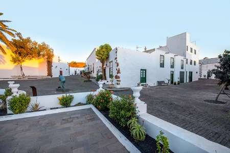 Street view in Teguise village on the sunset on lanzarote island