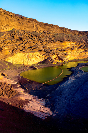 golfo: El Golfo bay with volcanic green water pool on Lanzarote island in Spain