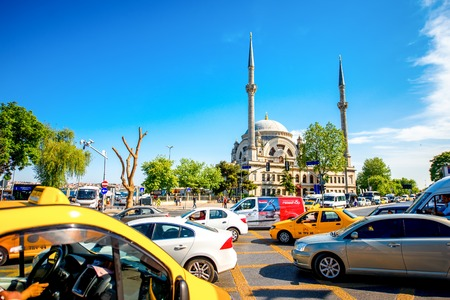 crowded street: ISTANBUL - MAY 28, 2015: Crowded street with Eminonu mosque on the background in Istanbul. Istanbul is very busy city with lots of road traffics Editorial