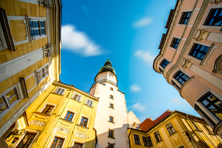 watch city: Famous St. Michaels watch tower in the old town of Bratislava city, Slovakia