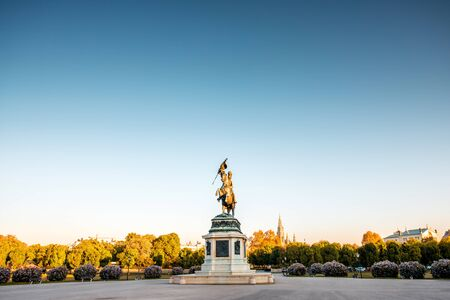 archduke: Archduke Charles statue on Helden square in Vienna at the morning. Wide angle image with copy space