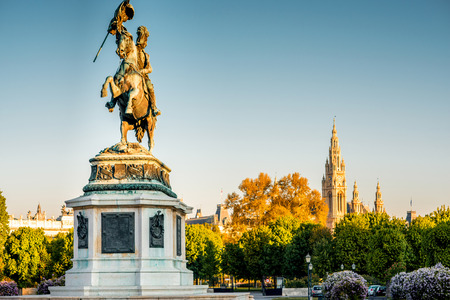 archduke: Archduke Charles statue on Helden square in Vienna at the morning. Stock Photo