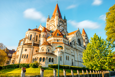 st  francis: St. Francis of Assisi Church near the Danube river in Vienna Stock Photo