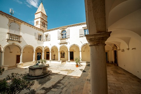 colonnaded: Courtyard of Minorite monastery of St. Francis in Piran city in Slovenia