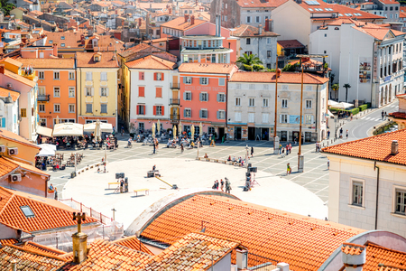 top 7: Piran, Slovenia - May 7, 2016: Top view on Tartini square in Piran town. Piran is one of Slovenias major tourist attractions. Editorial