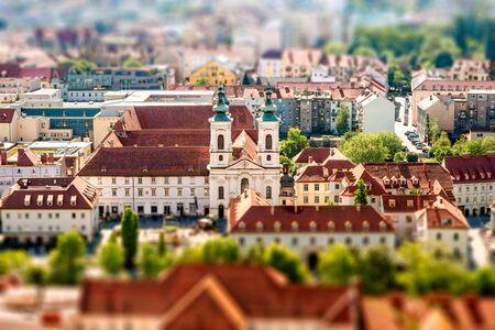 Aerial view on Graz city in Austria. Tilt-shift image technic Stock Photo