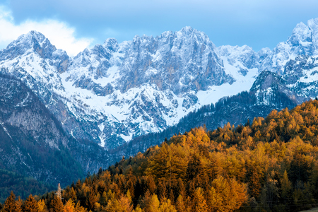 snowed: Beautiful landscape view with snowed up mountains in Triglav national park in Slovenia. Traveling slovenian Alps