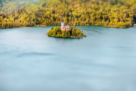 Aerial view on the Bled lake and island with saint Marys church in Slovenia