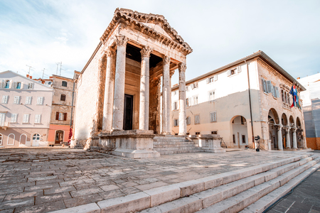 augustus: Ancient temple of Augustus in the main town square in Pula city in Croatia Stock Photo