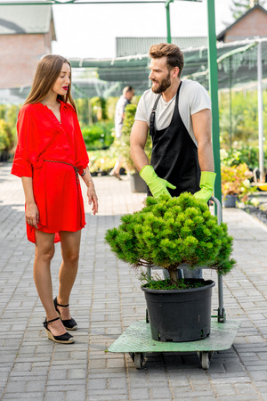 flower seller: Handsome flower seller helping female buyer to take out a tree with trolley from the plant store. Customer service and delivery in the flowers shop