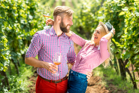 Beautiful caucasian couple in checkered shirts having fun with glasses of wine on the vineyard. Green tourism at the winery Stock Photo