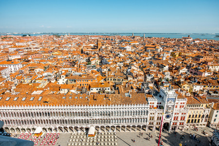 procuratie: Aerial view from San Marks campanile on San Polo and San Marco region in Venice Stock Photo
